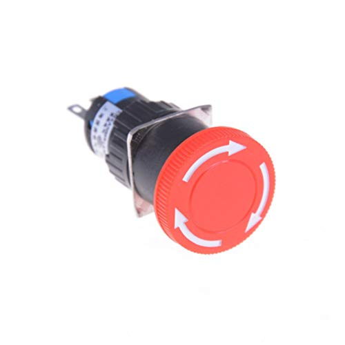 New 1pcs 16mm Red Mushroom Emergency Stop E-stop Switch 3 Pins NO+NC DC 30V 5A AC 250V 3A Emergency Stop Push Button Switch