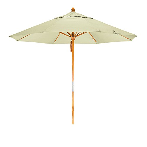 California Umbrella 9′ Round Hardwood Pole Fiberglass Rib Market Umbrella, Stainless Steel Hardware, Pulley Lift, Sunbrella Natural
