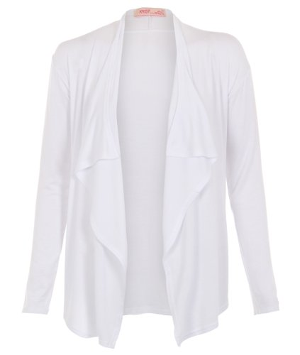 Bianco KRISP manica Jersey coprispalle Donna inverno tinta aperto unita Cardigan lunga YXvqwYr