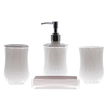 JustNile Acrylic 4-Piece Bathroom Accessory Set - Opaque White
