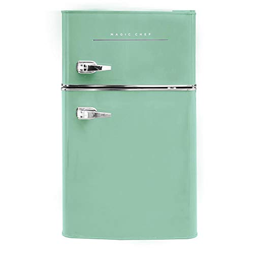 Magic Chef Retro Mini Refrigerator 3.2 cu. ft. 2-Door Fridge in Mint Green