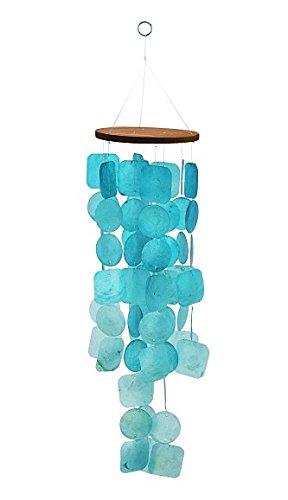 Exquisit Turquoise Capiz Windchime Capiz Shell Blue Tinted Wind Chime BEAUTY