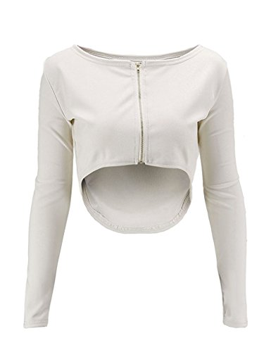 Ayliss Sexy Zipper Crop Top Long Sleeve Reversible Style Blouse Shirt,Khaki (Reversible Long Sleeve Top)
