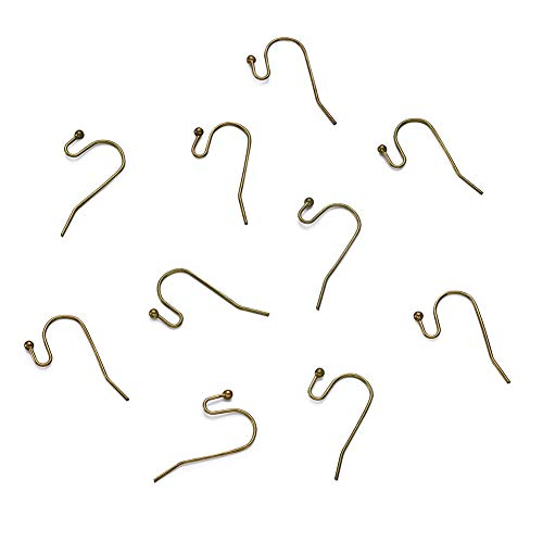 Pandahall 100pcs Antique Bronze Brass S Hook Ball-End Earwire Earring Hooks for Earring Dangle Making Lead Free & Cadmium Free & Nickel Free 22x11mm