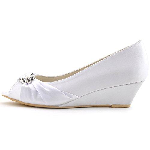 White Heel ElegantPark Women Toe Mid Rhinestones Bridal Shoes Wedges Pumps Peep Satin Wedding wOBwY7