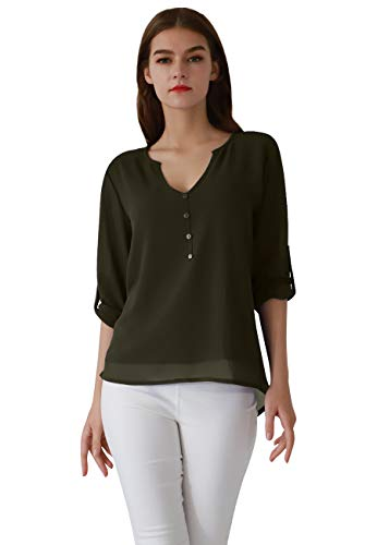 OMZIN Womens Cute Outfit Breathable Soft Blouse for Leggings Army Green M for $<!--$14.99-->