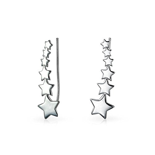 USA Patriotic Shooting Star Ear Pin Climbers Wrap Crawlers Earrings For Women For Teen 925 Sterling Silver
