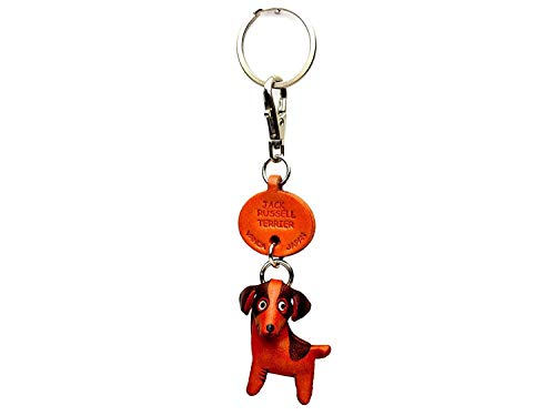 Jack Russell Terrier Leather Dog Small Keychain VANCA CRAFT-Collectible Keyring Charm Pendant Made in Japan