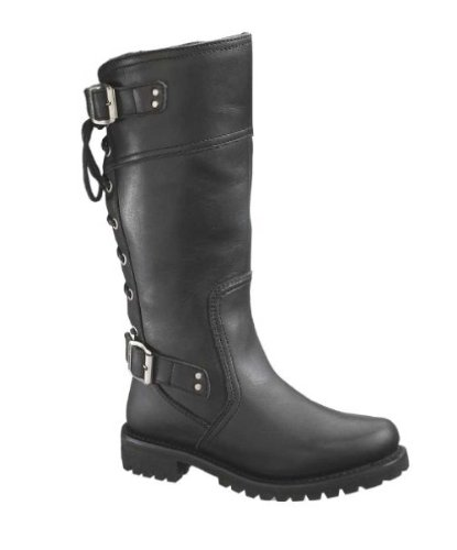 (Harley-Davidson Women's Alexa Back Lace Black Leather Motorcycle Boots)