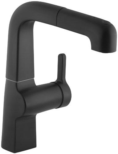 KOHLER K-6332-BL Evoke Single Control Pullout Secondary Kitchen Faucet, Matte (Kohler Evoke Single)