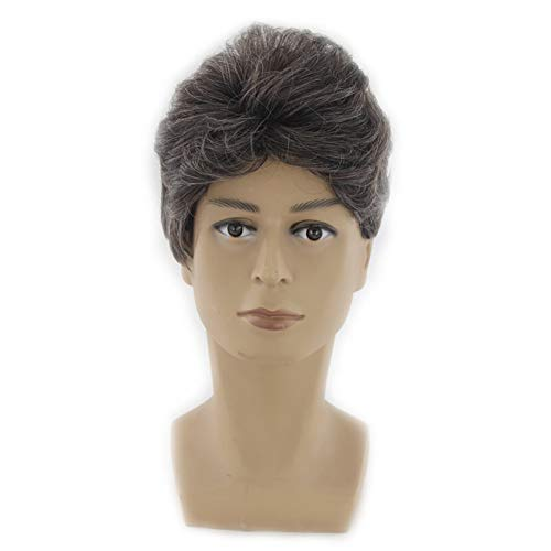Fashion Brown Short Wig For Men,Mens Hair Toupee Hairpieces Heat Resistant For Daily Wearing And Cosplay