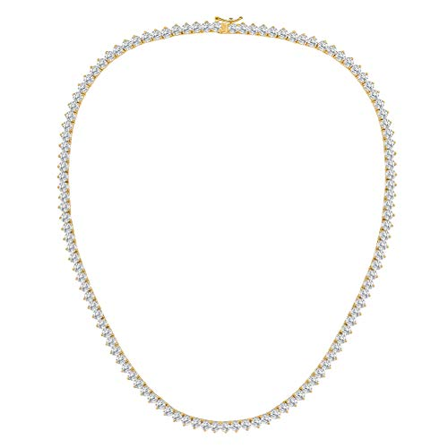 VOLUKA 18K Yellow Gold Plated CZ Tennis Chain Necklace Gift for Men Women 18