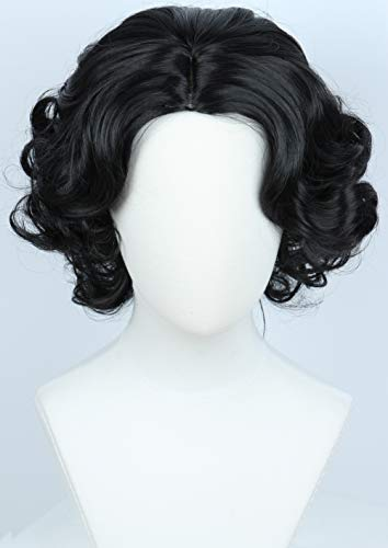 Linfairy Anime Cosplay Princess Wig Short Black Curly Hair Halloween Costume Full -
