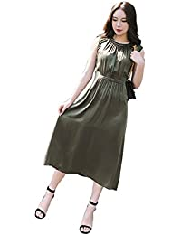 Rance CG Women's Sleeveless A-Line Casual Slit Solid Party Dress Loose Long Maxi Dress 854C048