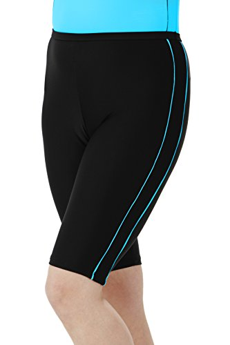 HydroChic Women's Plus Size Swim Shorts – Chlorine Proof Long Shorts Great for Biking and Water Exercises – Black/Sea Blue, 3X