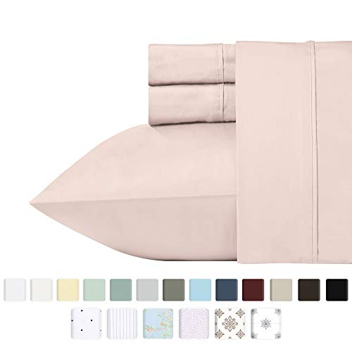 California Design Den 400 Thread Count 100% Cotton Sheet Set, Blush Twin XL Sheets 3 Piece Set, Long-Staple Combed Pure Natural Cotton Bedsheets, Soft & Silky Sateen Weave