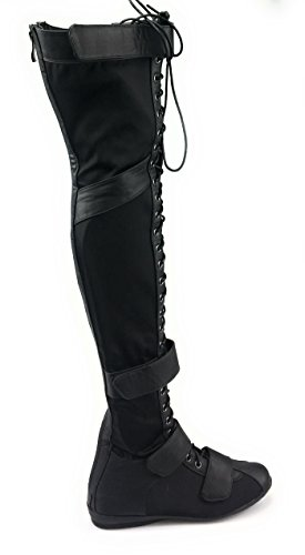 Liliana Thigh High Over Knee Lace Up Strappy Flat Boots