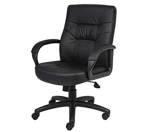 (Wood & Style Office Home Furniture Premium Office Products Executive Mid Back LeatherPlus Chair in Black)