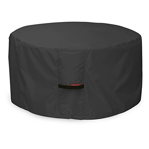 Porch Shield 600D Heavy Duty Patio Round Fire Pit/Table/Bowl Cover 32 inch, 100% Waterproof, Black