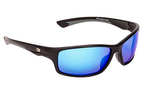 (Strike King Plus Hudson Polarized Sunglasses with Matte Black/Gray Frames and Revo Blue Mirror Gray Lenses)