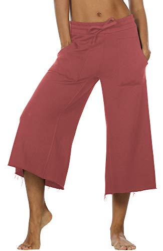 icyzone Culottes Capri Pants for Women - Elastic Waist Wide Leg Joggers Casual Lounge Cotton Sweatpants with Pockets (M, Dusty Pink)