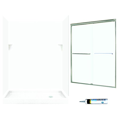 Swanstone SSP326R010-M58570NC Retro-Fit Alcove Shower Kit 60-Inch x 32-Inch x 72in Right-Hand with Frameless Nickel Door and Clear Glass, White