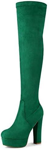 Allegra K Women's Platform Block Heel Over Knee High Boots