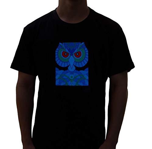 Rave Raptor Sound Activated Shirt EDM Owl LED Shirt Light Up T-Shirt