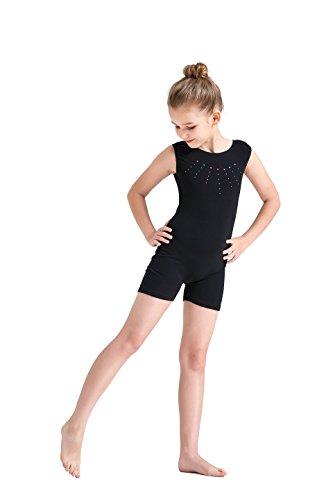 Kql Leotards Rainbow Gymnastics Shiny Tank Unitards Shortall Girl Kids Dancewear Biketards 3-12Y