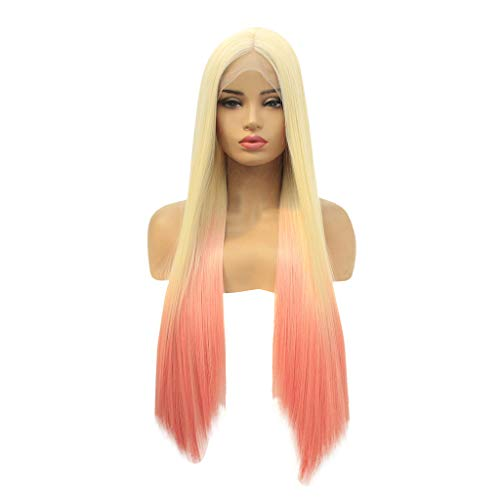 Blonde Lace Front Straight Wig - Charming Gold Ombre Pink Long Silk Middle Part Wigs - Cosplay Synthetic Fiber Hair for Prom Club Party (26inch Blonde Ombre Lace Front Long Straight Wigs)
