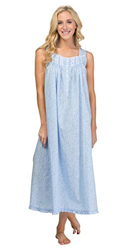 Eileen West Long Nightgown - Cotton Lawn Sleeveless in Dainty Vine (Blue/White Vines, X-Large)