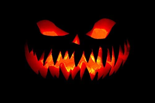 Laeacco All Saints Day Backdrop 10x6.5ft Scary Grimace Pumpkin Lantern Black Photography Background Glowing Flame Devil Horror Costume Party Masked Ball Halloween Decor Wallpaper Photo Prop Video