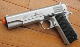 (airsoft spring pistol m21s silver heavy weight w/bb's 1/1 scale(Airsoft Gun))