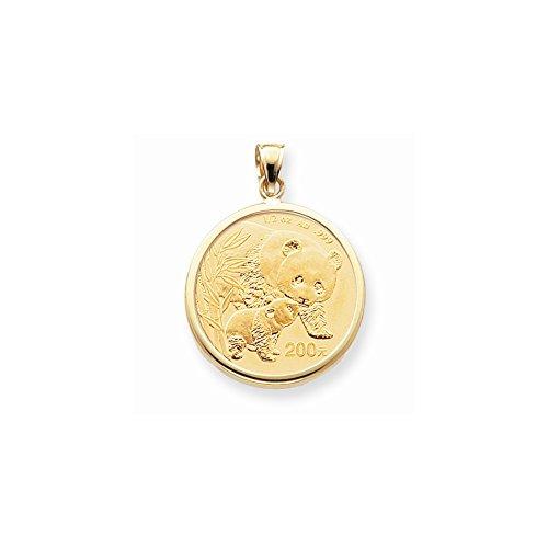 14k Yellow Gold 1/2oz Panda Coin Polished Plain Bezel Mounting