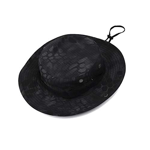 GreenCity Men Boonie Jungle Camo Hat Military Ripstop Breathable Headwear Bucket Sun Hat with Chin Strap Brass Vents Wide Brim Cap for Outdoor Hunting Fishing Safari Hiking Camping (Black, L(60cm)) ()