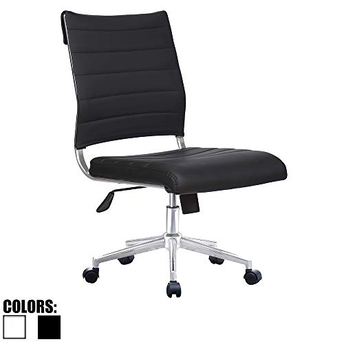 2xhome Black Modern Ergonomic Executive Mid Back PU Leather No Arms Rest Tilt Adjustable Height Wheels Cushion Lumbar Support Swivel Office Chair Conference Room Home Task Desk Armless