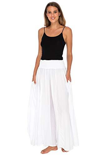 Back From Bali Womens Boho Wide Leg Palazzo Pants Smocked Waist Harem Lounge Loose Summer Beach Pants White S/M