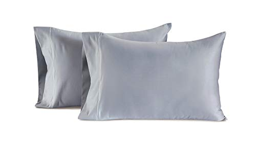 CHATEAU HOME COLLECTION Luxury 100% Egyptian Cotton 800-Thread-Count Egyptian Cotton Deep Pocket Sateen Weave, Set of 2 King Pillowcases - Charcoal