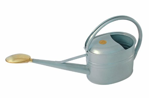 (Bosmere Haws Slimcan Metal Watering Can with Oval Rose, 1.3-Gallon/5-Liter, Titanium )
