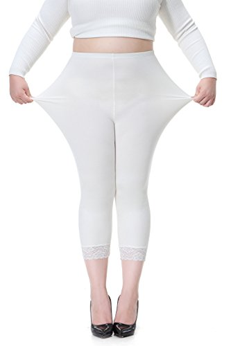 Cotton Lace Leggings - DESTTY Women's Plus Size Cotton Workout Capri Leggings Stretchy Yoga Tights Solid With Lace Trim White 3XL