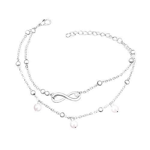 Cha/îne de Cheville /à Double Couche avec Perle WikiMiu Bracelet Cheville Femme Fantaisie Taille R/églable Cadeau pour Femme Fille pour Anniversaire et F/êtes Argent