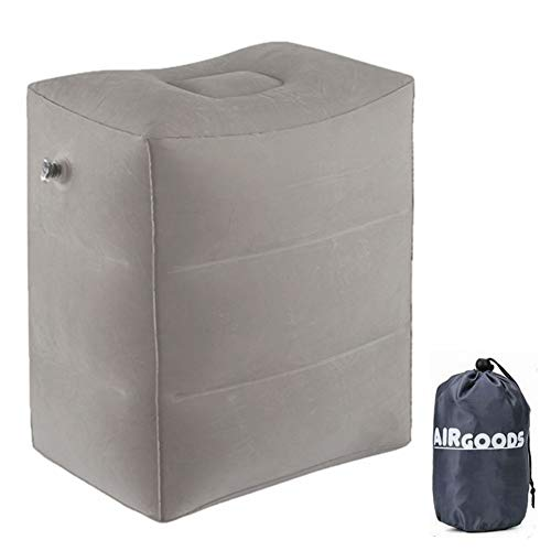 AirGoods Inflatable Travel Pillow for Foot Rest on Airplanes and Kids to Sleep on Long Flights (Grey)