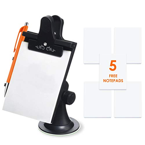Mobi Lock Car Note Pad / Memo Pad / Clip Board with Pen Holder (Universal Suction, Flexible Neck Mount)
