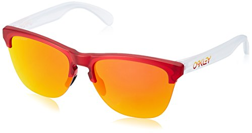 (Oakley Men's Frogskins Lite Non-Polarized Iridium Round Sunglasses, Matte Transparent Red, 63.2 mm)