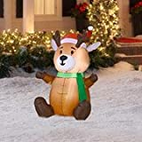 Gemmy Airblown Inflatable Baby Reindeer Sitting Wearing Santa Hat and Green Scarf - Indoor Outdoor Holiday Decoration, 3.5-foot Tall