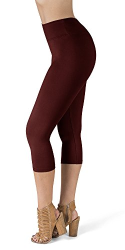 SATINA High Waisted Super Soft Capri Leggings - 20 Colors - Reg & Plus Size (One Size, Burgundy)