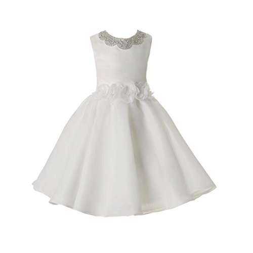 Ourlove Dress A Line Pageant Organza First Communion Dress for Girls White Beaded Kids Evening Gown 2-12 Year Old