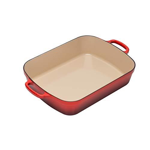 - Le Creuset Signature Cast Iron Rectangular Roaster, 5.25-Quart, Cerise (Cherry Red) (Renewed)