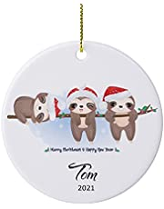 New Year Mood Sloth Personalized Baby First Christmas Ornament 2021 Custom Cute Baby's Sloth Christmas Tree Ornament for New Born Baby Boy Girl