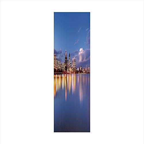 Decorative Window Film,No Glue Frosted Privacy Film,Stained Glass Door Film,Skyline of Perth Western Australia at Night Dramatic Urban Swan River Scenery Decorative,for Home & Office,23.6In. by 59In V
